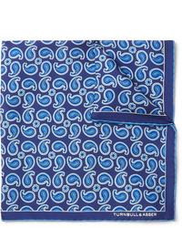 Pañuelo de bolsillo de paisley azul de Turnbull & Asser
