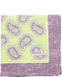 Pañuelo de bolsillo de paisley en amarillo verdoso