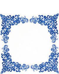 Pañuelo de bolsillo de paisley en blanco y azul marino