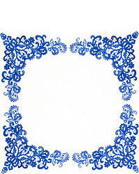 Pañuelo de bolsillo de paisley en blanco y azul marino de Alexander McQueen