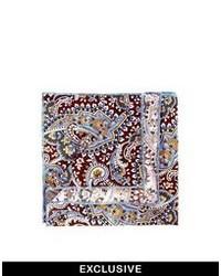 Pañuelo de bolsillo de paisley marrón de Reclaimed Vintage