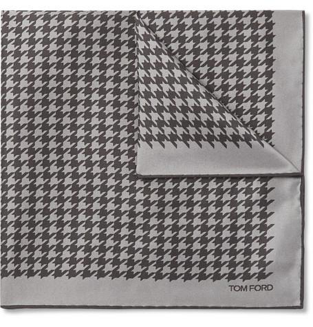 Pañuelo de bolsillo de pata de gallo gris de Tom Ford