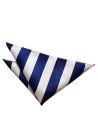 Pañuelo de Bolsillo de Rayas Verticales Blanco y Azul Marino