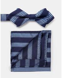 Pañuelo de bolsillo de rayas verticales en blanco y azul marino de Selected