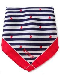 Pañuelo de bolsillo de rayas verticales en rojo y azul marino de fe-fe
