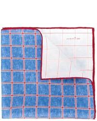 Pañuelo de bolsillo de seda a cuadros azul de Kiton