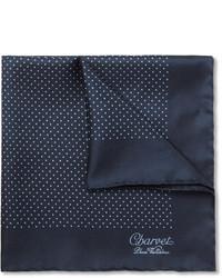 Pañuelo de bolsillo de seda a lunares azul marino de Charvet