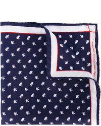 Pañuelo de bolsillo de seda a lunares azul marino de fe-fe