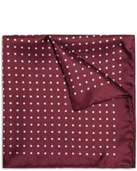 Pañuelo de bolsillo de seda a lunares burdeos