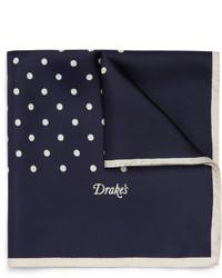 Pañuelo de bolsillo de seda a lunares en azul marino y blanco de Drakes