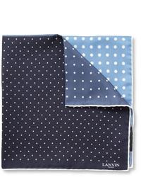 Pañuelo de bolsillo de seda a lunares en azul marino y blanco de Lanvin