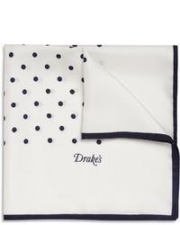 Pañuelo de bolsillo de seda a lunares en blanco y azul marino de Drakes