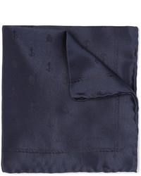 Pañuelo de bolsillo de seda azul marino de Alexander McQueen