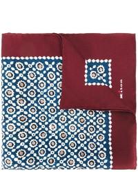 Pañuelo de bolsillo de seda con estampado geométrico azul marino de Kiton