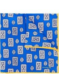 Pañuelo de bolsillo de seda con estampado geométrico azul de Kiton