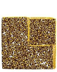 Pañuelo de bolsillo de seda con print de flores amarillo