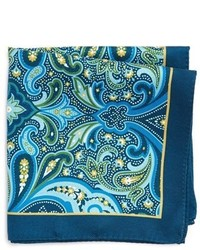 Pañuelo de bolsillo de seda de paisley azul marino