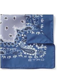 Pañuelo de bolsillo de seda de paisley azul de Etro