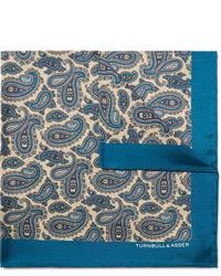 Pañuelo de bolsillo de seda de paisley azul de Turnbull & Asser