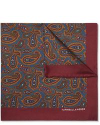 Pañuelo de bolsillo de seda de paisley burdeos de Turnbull & Asser