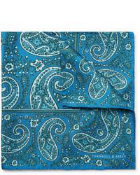 Pañuelo de bolsillo de seda de paisley en verde azulado de Turnbull & Asser