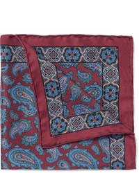 Pañuelo de bolsillo de seda de paisley rojo de Drakes