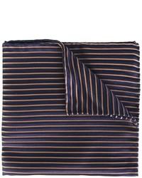 Pañuelo de bolsillo de seda de rayas horizontales azul marino de Armani Collezioni