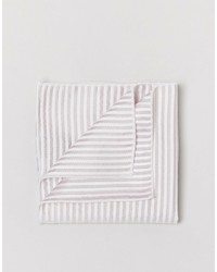 Pañuelo de bolsillo de seda de rayas horizontales en beige de Selected