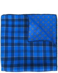Pañuelo de bolsillo de seda de tartán azul de Kiton