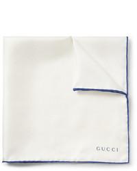 Pañuelo de bolsillo de seda en blanco y azul de Gucci