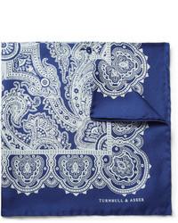 Pañuelo de bolsillo de seda en blanco y azul de Turnbull & Asser