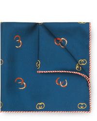 Pañuelo de bolsillo de seda estampado azul marino de Gucci