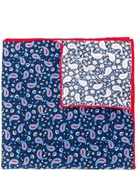 Pañuelo de bolsillo de seda estampado azul marino de Kiton