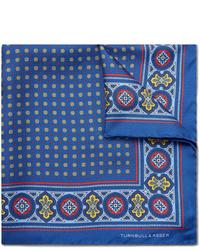 Pañuelo de bolsillo de seda estampado azul marino de Turnbull & Asser