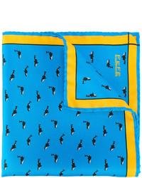 Pañuelo de bolsillo de seda estampado azul de fe-fe