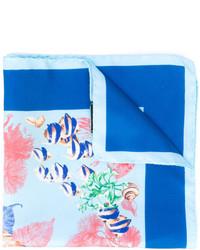 Pañuelo de bolsillo de seda estampado azul de Kiton