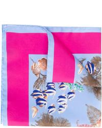 Pañuelo de bolsillo de seda estampado celeste de Kiton