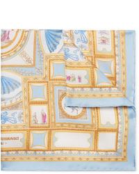 Pañuelo de bolsillo de seda estampado celeste de Rubinacci