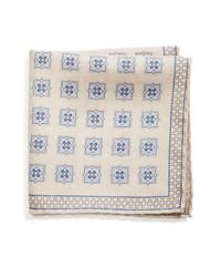 Pañuelo de bolsillo de seda estampado en beige
