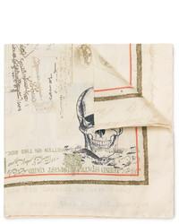 Pañuelo de Bolsillo de Seda Estampado en Beige de Alexander McQueen