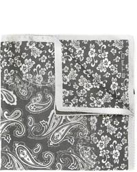 Pañuelo de bolsillo de seda estampado en gris oscuro de Etro