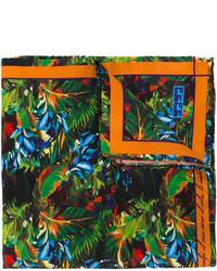 Pañuelo de bolsillo de seda estampado en verde azulado de fe-fe