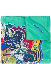 Pañuelo de bolsillo de seda estampado en verde menta de Etro