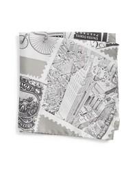 Pañuelo de bolsillo de seda estampado gris