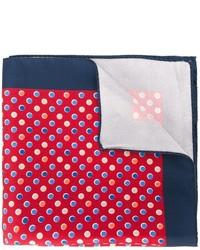 Pañuelo de bolsillo de seda estampado rojo de Kiton