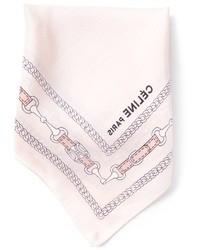 Pañuelo de bolsillo de seda estampado rosado de Celine