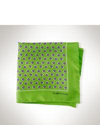 Pañuelo de bolsillo de seda estampado verde