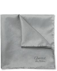 Pañuelo de bolsillo de seda gris de Charvet