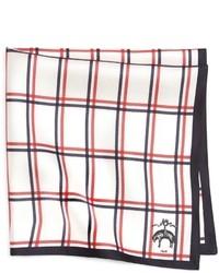 Pañuelo de bolsillo de tartán en blanco y rojo