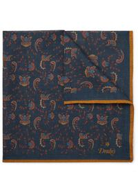 Pañuelo de bolsillo estampado azul marino de Drake's